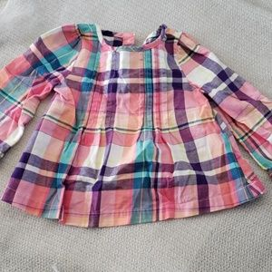 Pleated plaid toddler blouse